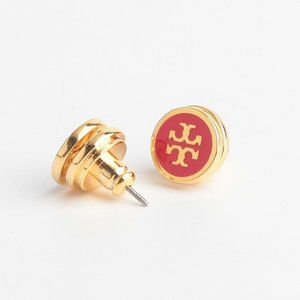 Tory Burch Lacquered Logo Red Stud Earrings